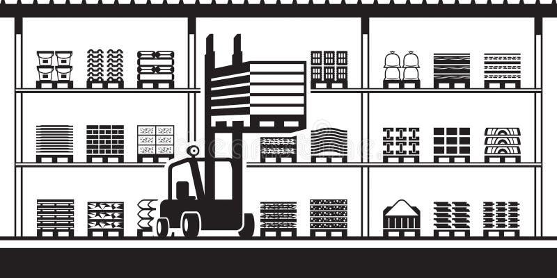 Forklift κινεί τις παλέτες στο απόθεμα για τα οικοδομικά υλικά διανυσματική απεικόνιση