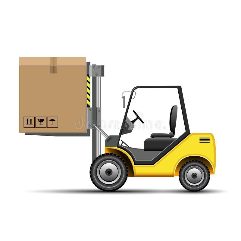 Forklift με το κιβώτιο ελεύθερη απεικόνιση δικαιώματος