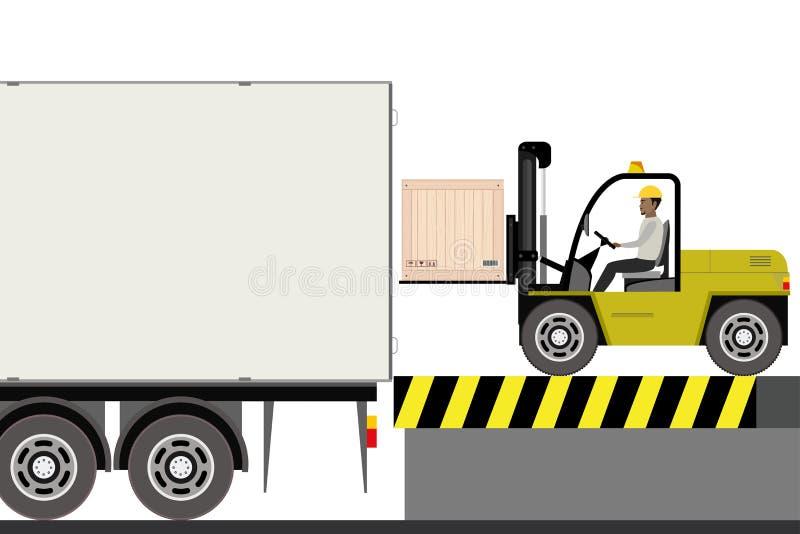 Forklift οδηγός στην εργασία στην αποθήκη απεικόνιση αποθεμάτων
