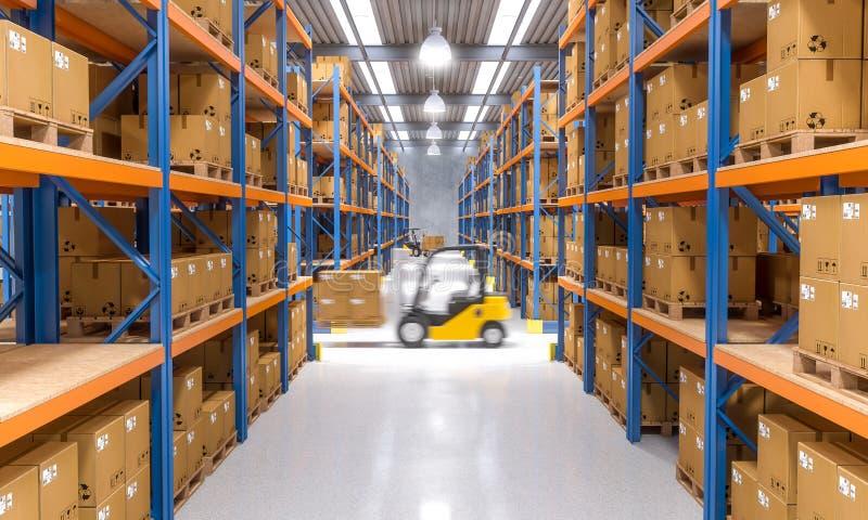 Forklift στην αποθήκη εμπορευμάτων διανυσματική απεικόνιση