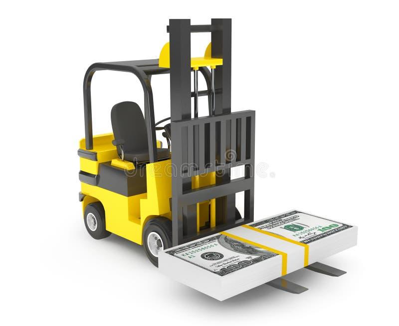 Forklift το φορτηγό κινεί τα δολάρια στοκ φωτογραφία με δικαίωμα ελεύθερης χρήσης