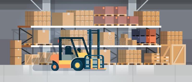 Forklift φορτωτών παλετών στοιβαχτών φορτηγών εξοπλισμού αποθηκών εμπορευμάτων εσωτερική υποβάθρου ραφιών έννοια παράδοσης κιβωτί διανυσματική απεικόνιση