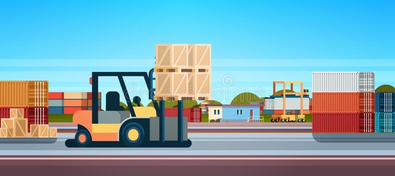 Forklift φορτωτών παλετών στοιβαχτών φορτηγών εξοπλισμού επίπεδο οριζόντιο έμβλημα έννοιας παράδοσης αποθηκών εμπορευμάτων διεθνέ διανυσματική απεικόνιση