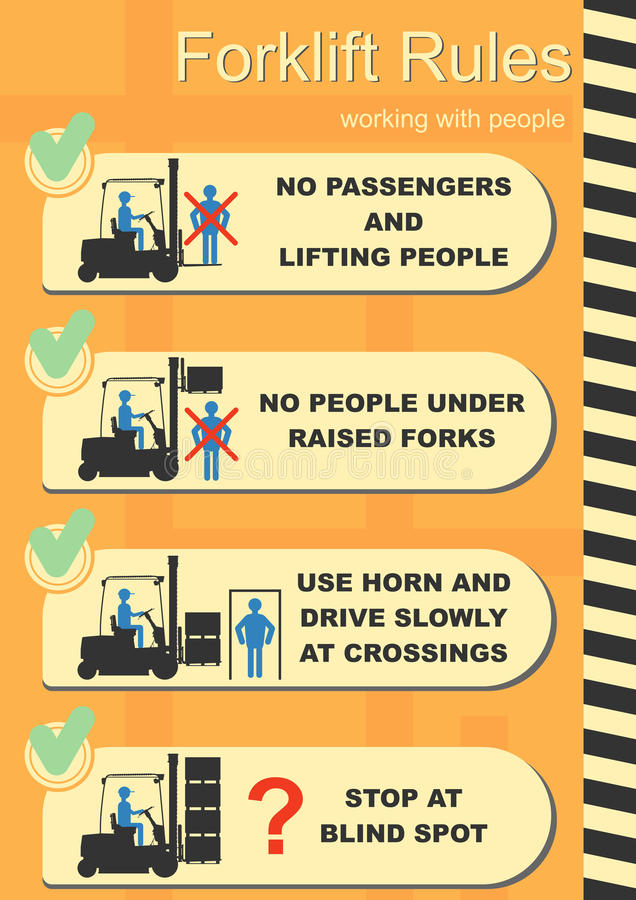 Forklift bezpieczeństwa reguły ilustracja wektor