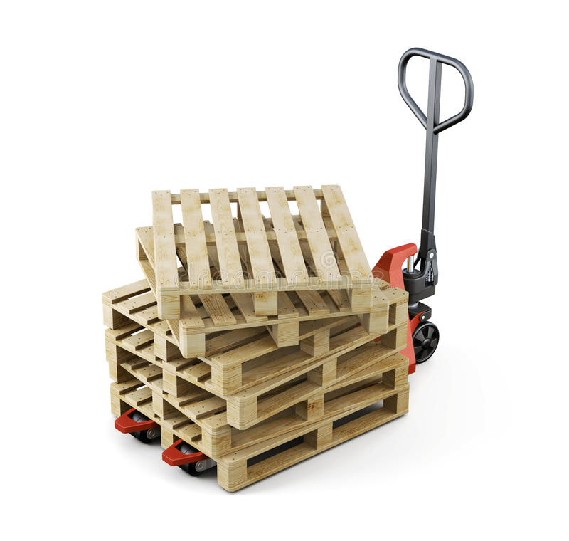 Forklift and a bunch of pallet . 3d rendering royalty free illustration