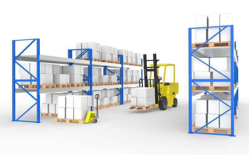 Forklift, caminhão e prateleiras. ilustração stock