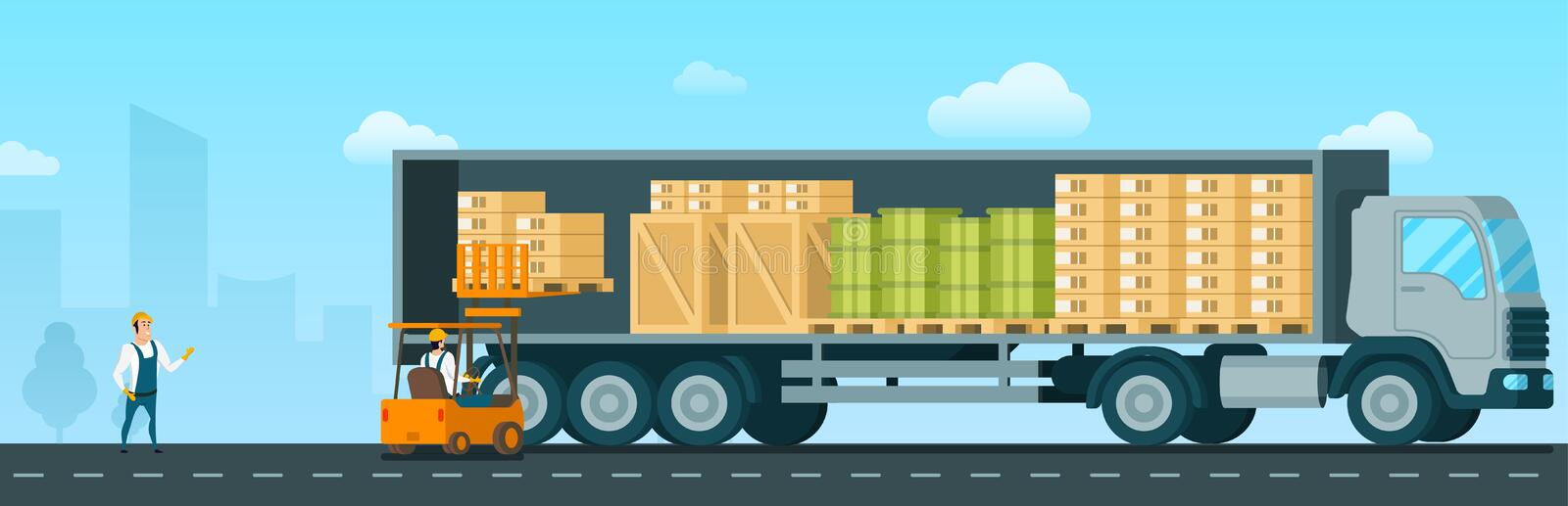 Forklift Car Loading Box Up to Shipping Truck vector illustration