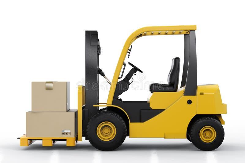 Forklift ciężarówka z kartonami obraz stock