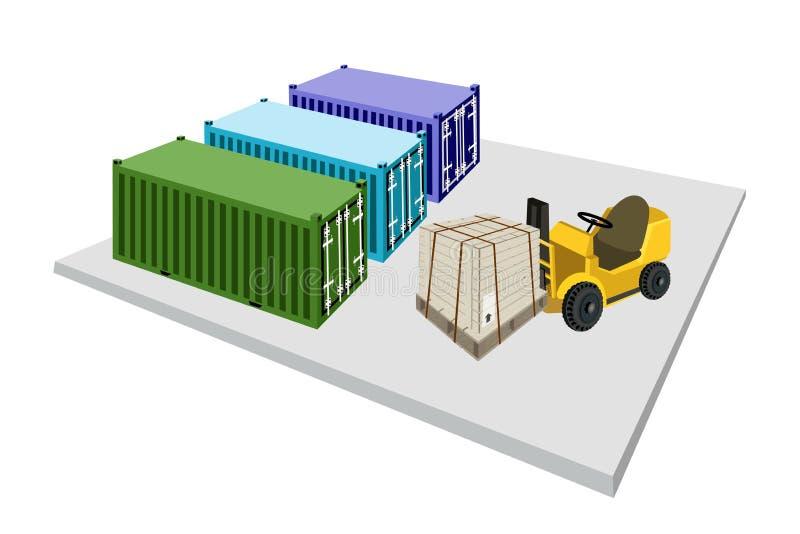 Forklift ciężarówki wysyłki Ładowniczy pudełko w zbiornika ilustracji