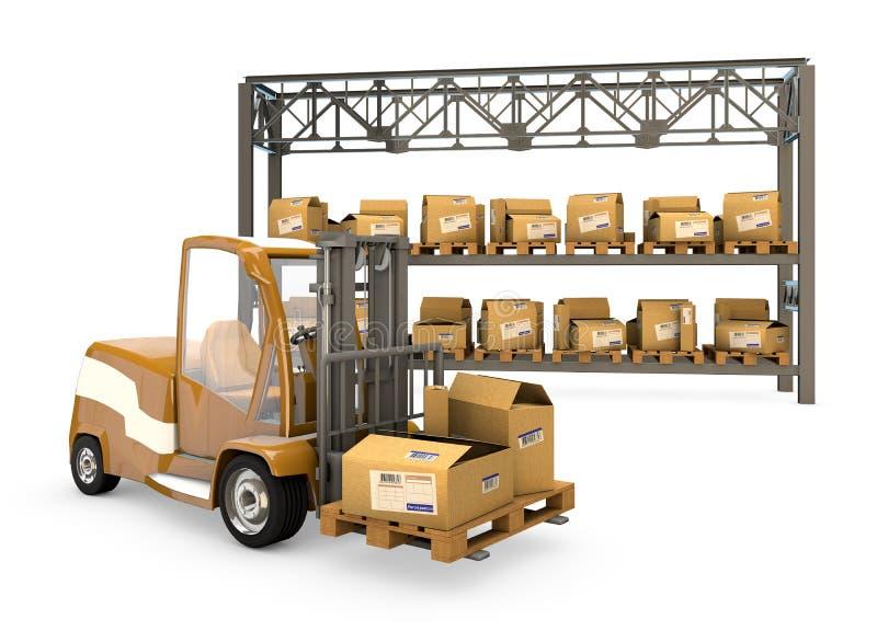 Forklift com caixas ilustração do vetor