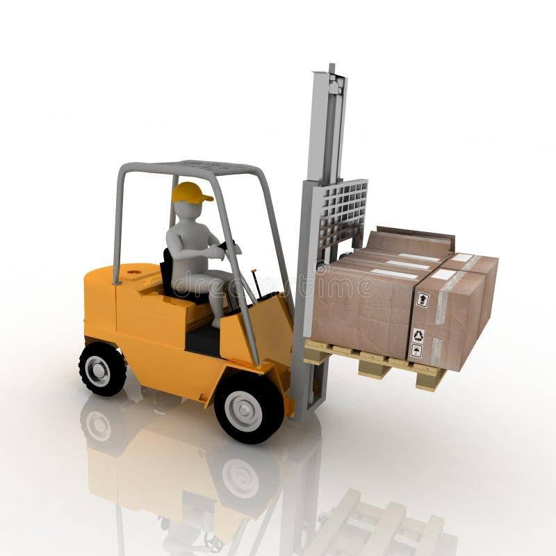 Forklift com excitador ilustração royalty free
