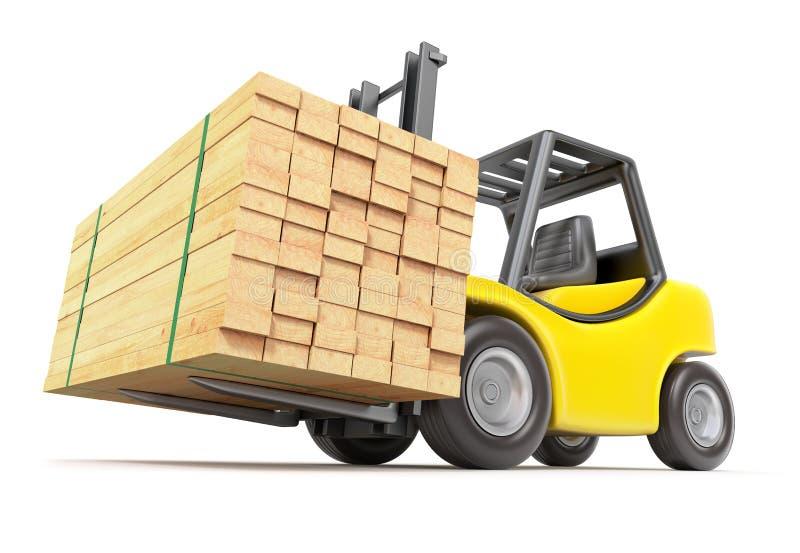 Forklift com madeira serrada empilhada ilustração stock