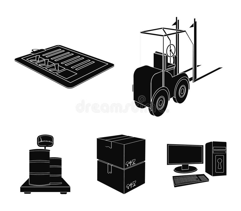 Forklift, delivery slips, packaged goods, cargo on weighing scales. Logistics and delivery set collection icons in black. Style isometric vector symbol stock royalty free illustration