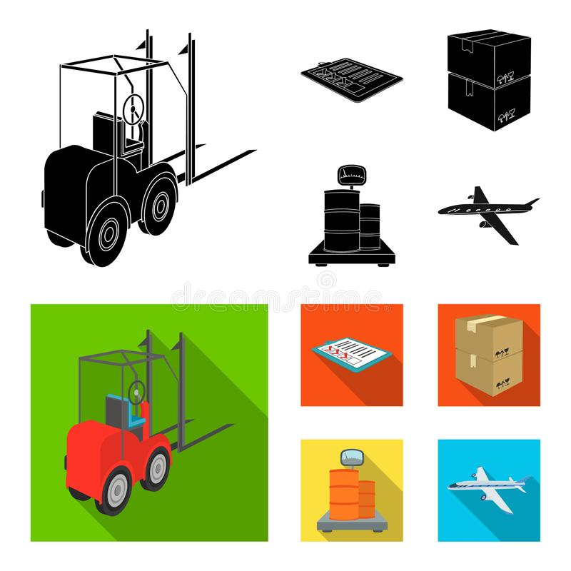Forklift, delivery slips, packaged goods, cargo on weighing scales. Logistics and delivery set collection icons in black. Flat style isometric vector symbol stock illustration