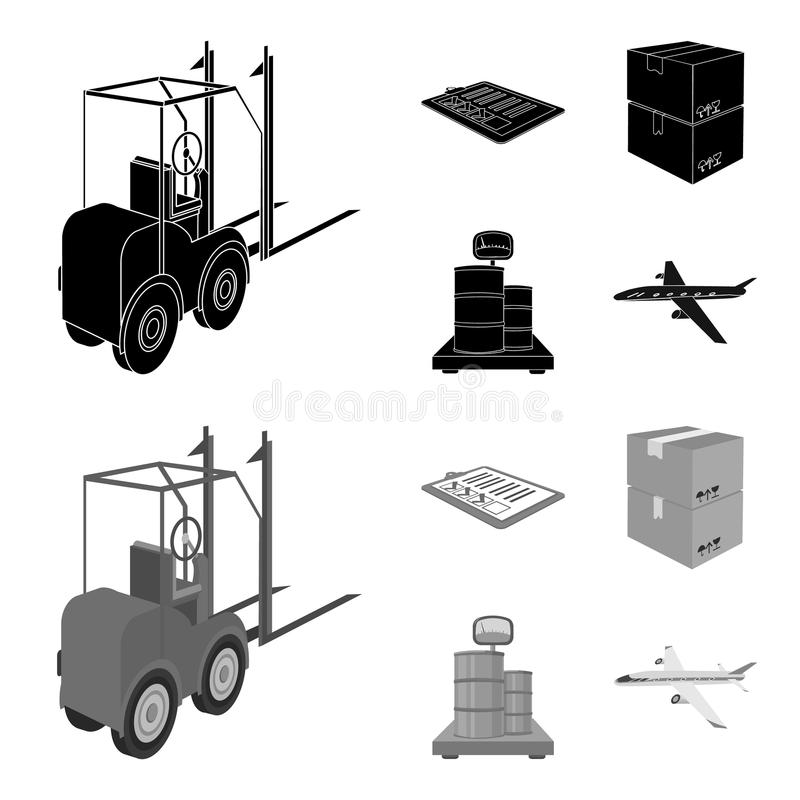 Forklift, delivery slips, packaged goods, cargo on weighing scales. Logistics and delivery set collection icons in black. Monochrom style isometric vector stock illustration