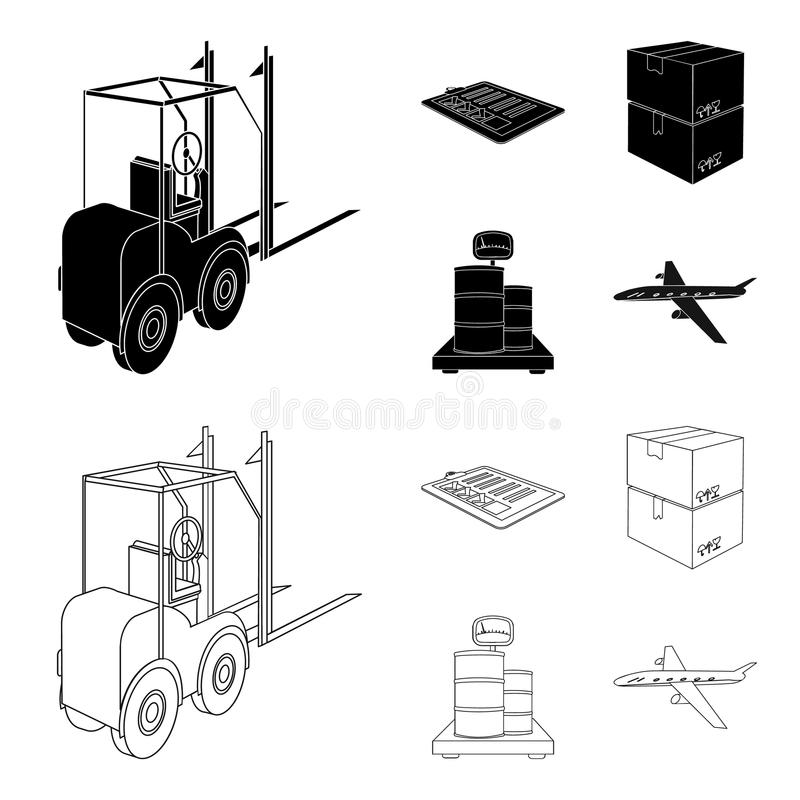 Forklift, delivery slips, packaged goods, cargo on weighing scales. Logistics and delivery set collection icons in black. Outline style isometric vector symbol vector illustration