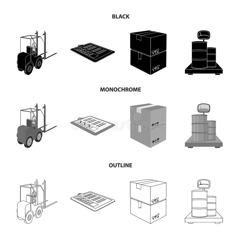Forklift, delivery slips, packaged goods, cargo on weighing scales. Logistics and delivery set collection icons in black. Monochrome,outline style isometric stock illustration