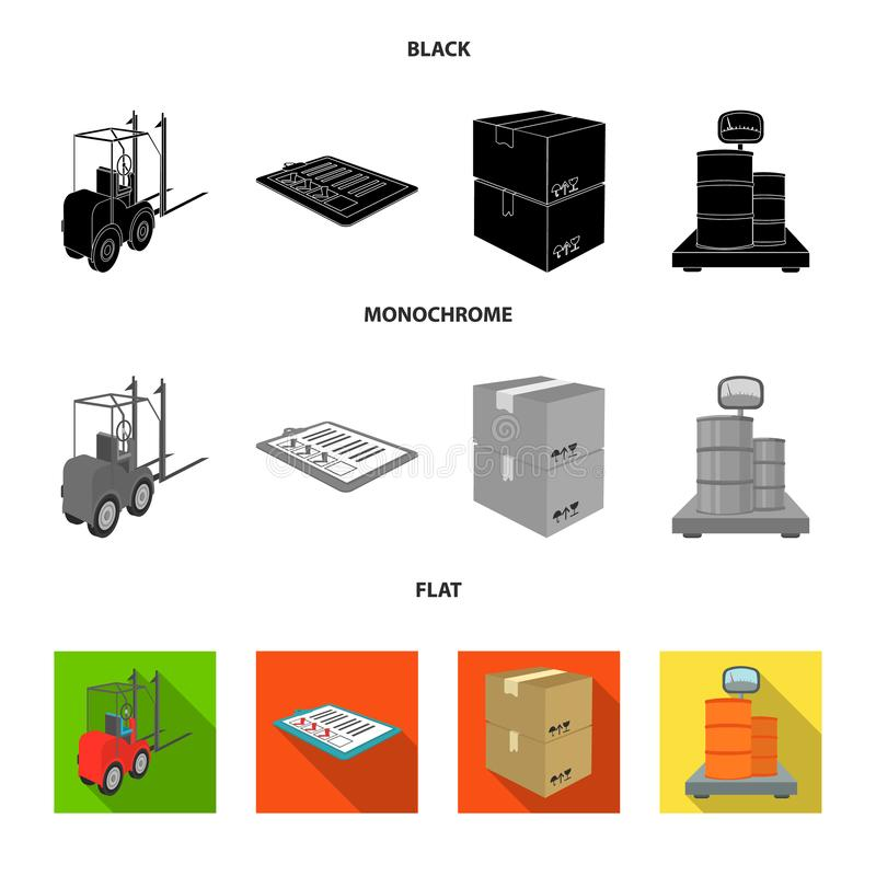 Forklift, delivery slips, packaged goods, cargo on weighing scales. Logistics and delivery set collection icons in black. Flat, monochrome style isometric vector illustration