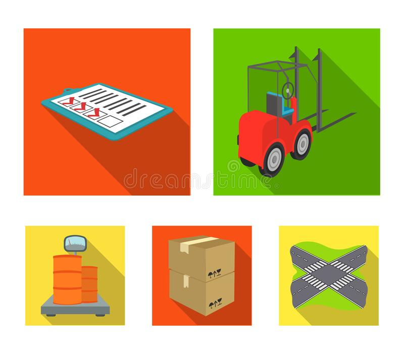 Forklift, delivery slips, packaged goods, cargo on weighing scales. Logistics and delivery set collection icons in flat. Style isometric vector symbol stock stock illustration