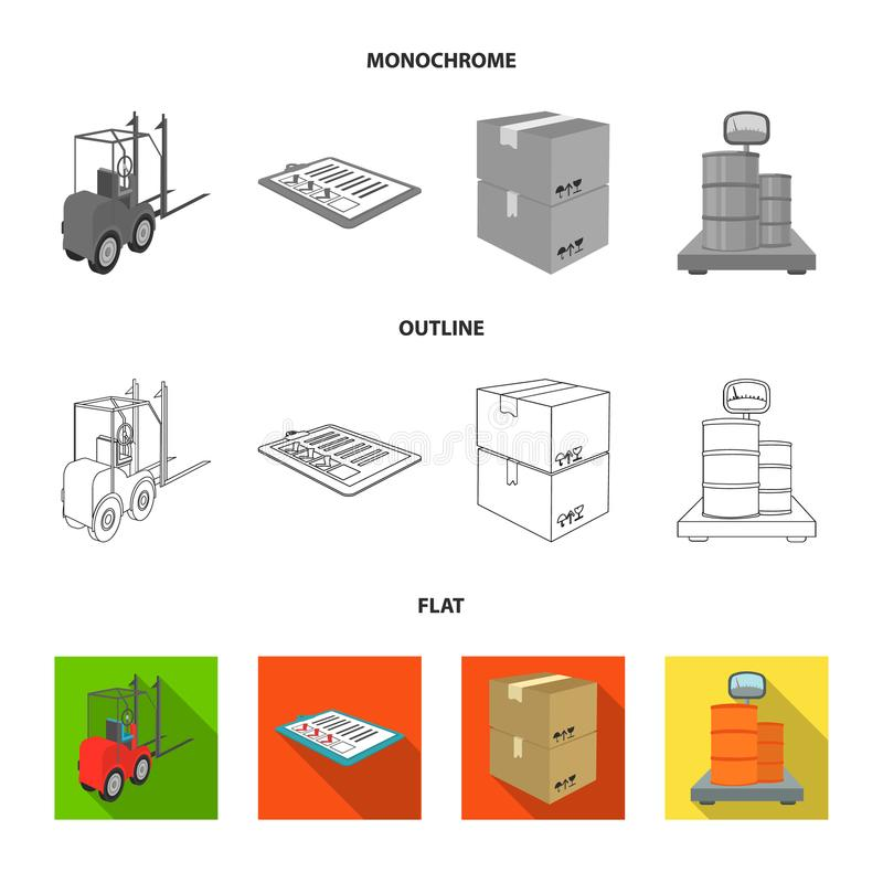 Forklift, delivery slips, packaged goods, cargo on weighing scales. Logistics and delivery set collection icons in flat. Outline,monochrome style isometric royalty free illustration