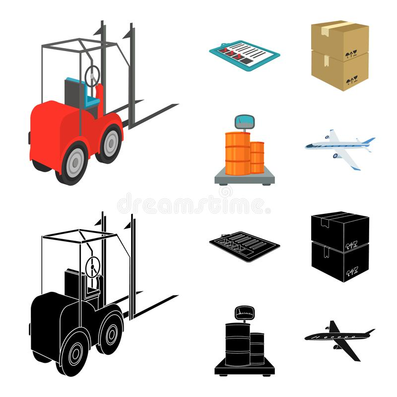 Forklift, delivery slips, packaged goods, cargo on weighing scales. Logistics and delivery set collection icons in. Cartoon,black style isometric vector symbol vector illustration