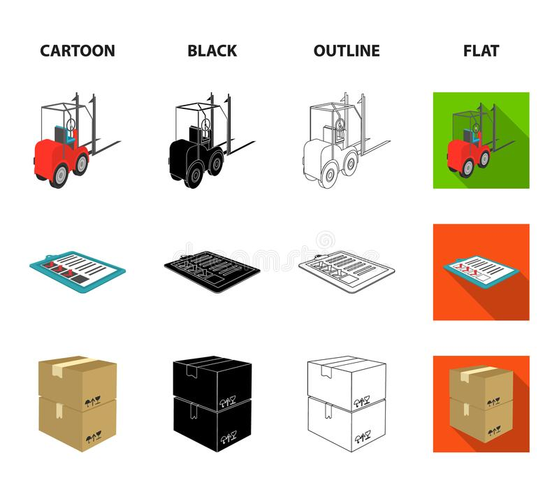 Forklift, delivery slips, packaged goods, cargo on weighing scales. Logistics and delivery set collection icons in. Cartoon,black,outline,flat style isometric royalty free illustration