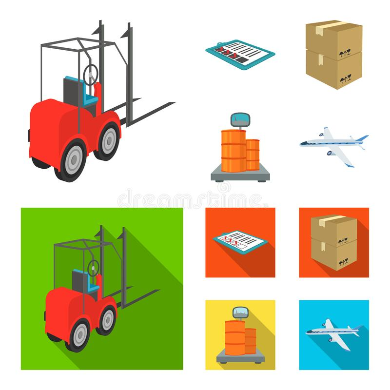 Forklift, delivery slips, packaged goods, cargo on weighing scales. Logistics and delivery set collection icons in. Cartoon,flat style isometric vector symbol stock illustration