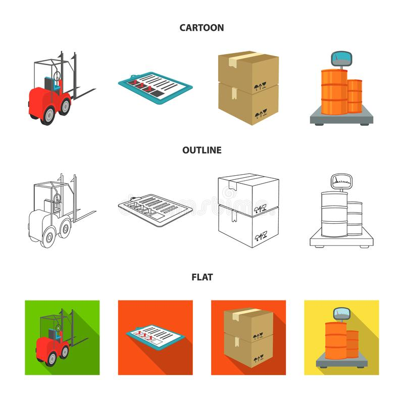 Forklift, delivery slips, packaged goods, cargo on weighing scales. Logistics and delivery set collection icons in. Cartoon,outline,flat style isometric vector royalty free illustration