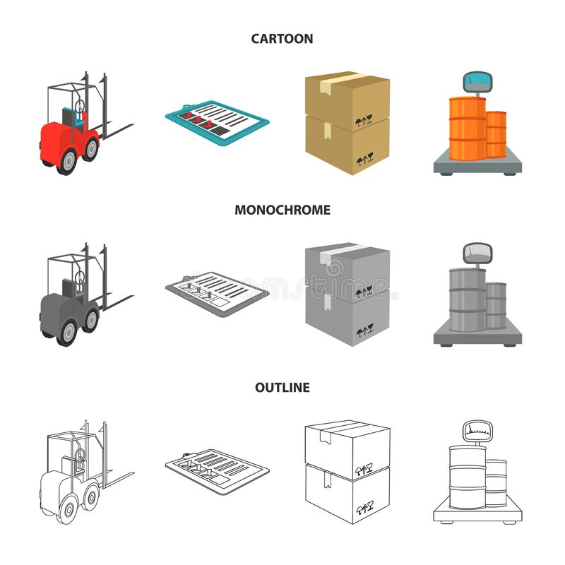 Forklift, delivery slips, packaged goods, cargo on weighing scales. Logistics and delivery set collection icons in. Cartoon,outline,monochrome style isometric royalty free illustration
