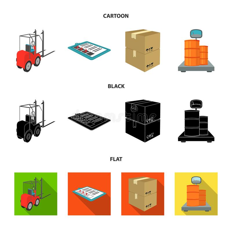 Forklift, delivery slips, packaged goods, cargo on weighing scales. Logistics and delivery set collection icons in. Cartoon,black,flat style isometric vector royalty free illustration