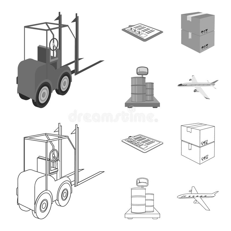 Forklift, delivery slips, packaged goods, cargo on weighing scales. Logistics and delivery set collection icons in. Outline,monochrome style isometric vector royalty free illustration