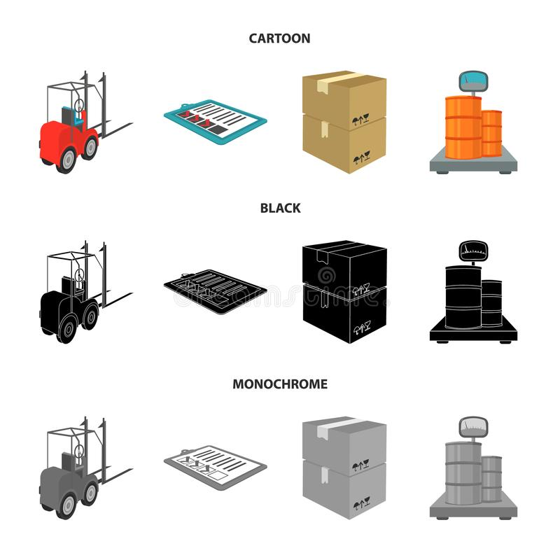 Forklift, delivery slips, packaged goods, cargo on weighing scales. Logistics and delivery set collection icons in. Cartoon,black,monochrome style isometric royalty free illustration