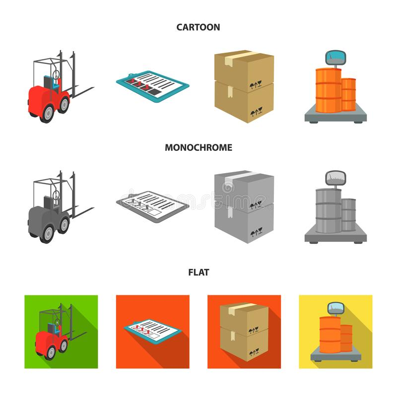Forklift, delivery slips, packaged goods, cargo on weighing scales. Logistics and delivery set collection icons in. Cartoon,flat,monochrome style isometric stock illustration