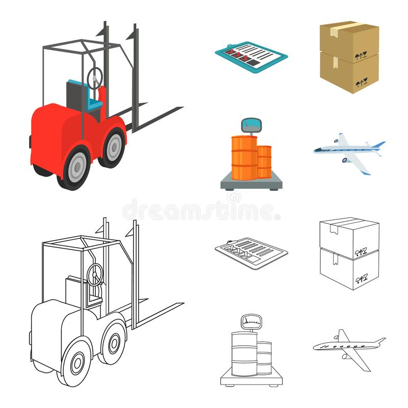 Forklift, delivery slips, packaged goods, cargo on weighing scales. Logistics and delivery set collection icons in. Cartoon,outline style isometric vector royalty free illustration