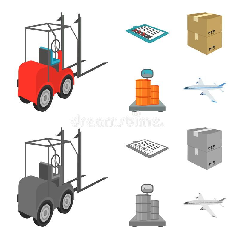 Forklift, delivery slips, packaged goods, cargo on weighing scales. Logistics and delivery set collection icons in. Cartoon,monochrome style isometric vector stock illustration
