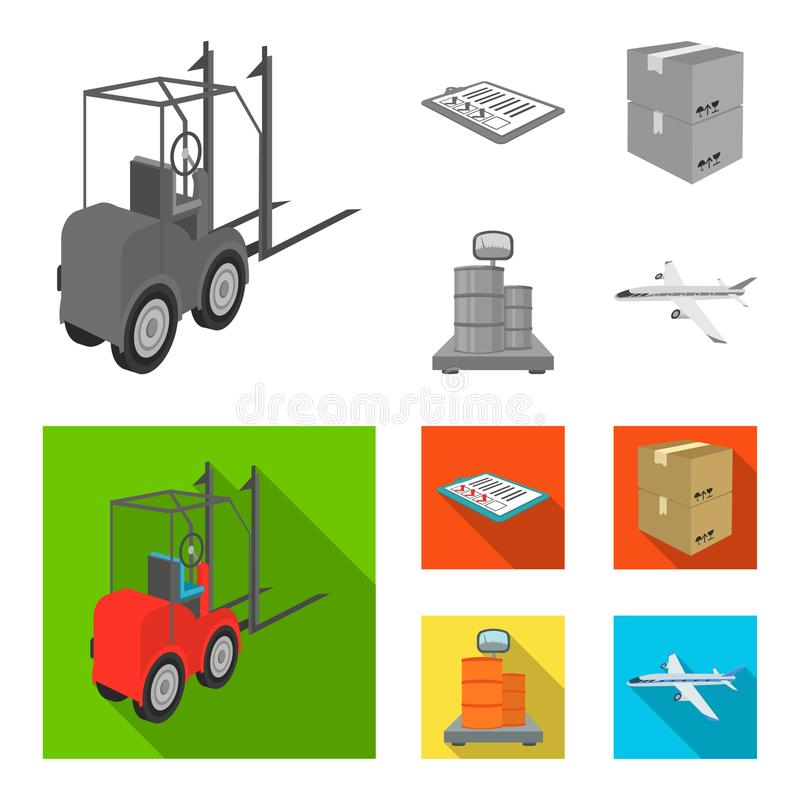 Forklift, delivery slips, packaged goods, cargo on weighing scales. Logistics and delivery set collection icons in. Monochrome,flat style isometric vector vector illustration
