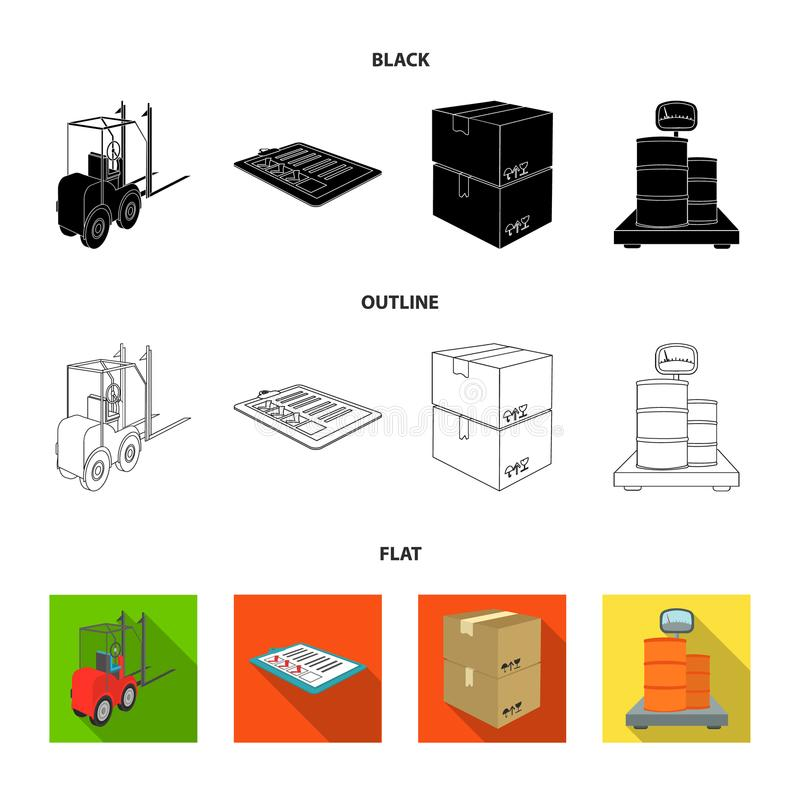 Forklift, delivery slips, packaged goods, cargo on weighing scales. Logistics and delivery set collection icons in. Cartoon style isometric vector symbol stock stock illustration