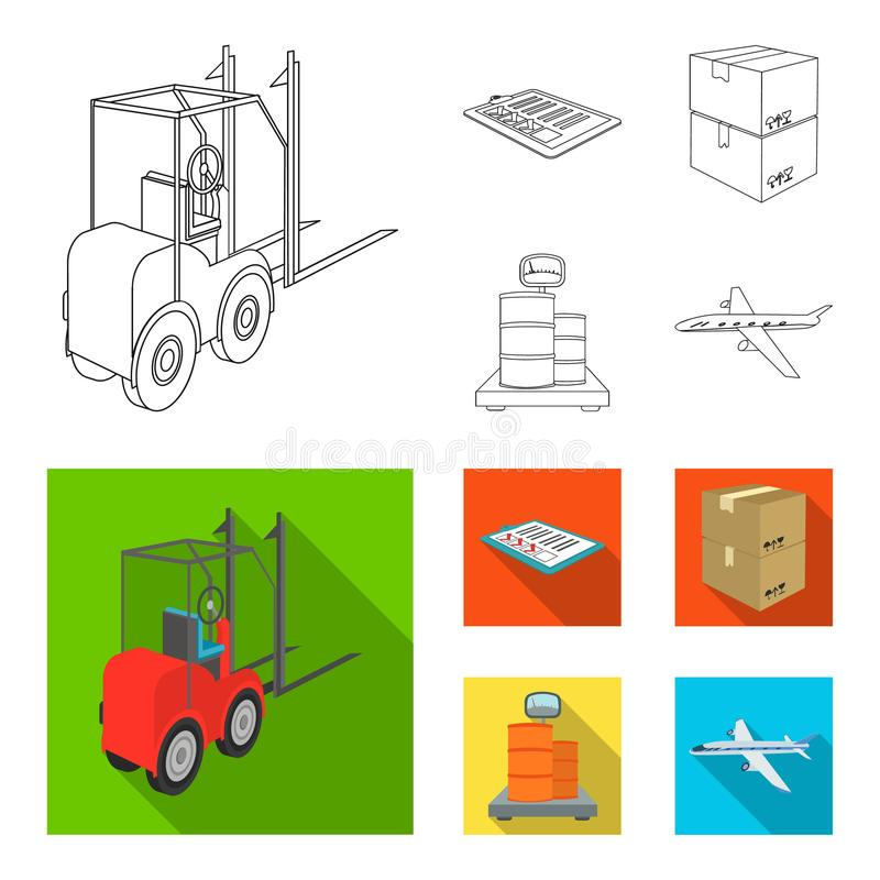 Forklift, delivery slips, packaged goods, cargo on weighing scales. Logistics and delivery set collection icons in. Outline,flat style isometric vector symbol royalty free illustration