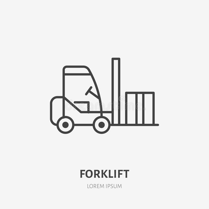 Forklift flat line icon. Fork lift loading box sign. Thin linear logo for cargo trucking, freight services royalty free illustration