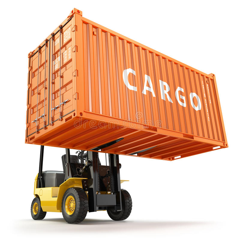 Forklift handling the cargo shipping container box. royalty free illustration