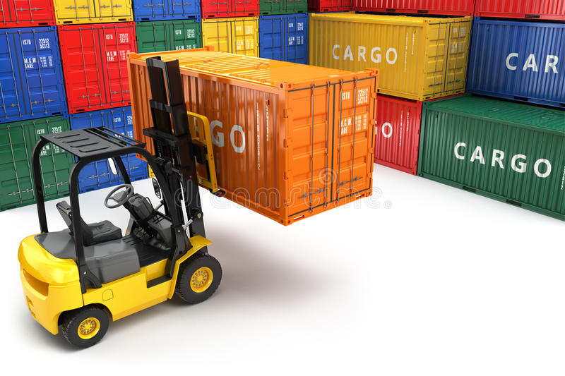 Forklift handling the cargo shipping container box. 3d vector illustration