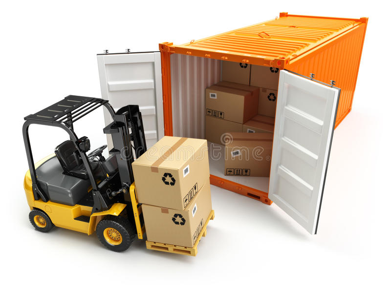 Forklift handling the cargo shipping container box. 3d stock illustration