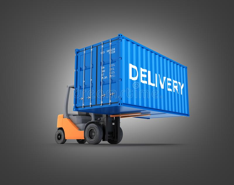 Forklift handling the cargo shipping container with an inscription delivery isolated on black gradient background 3d render. Forklift handling the cargo shipping vector illustration