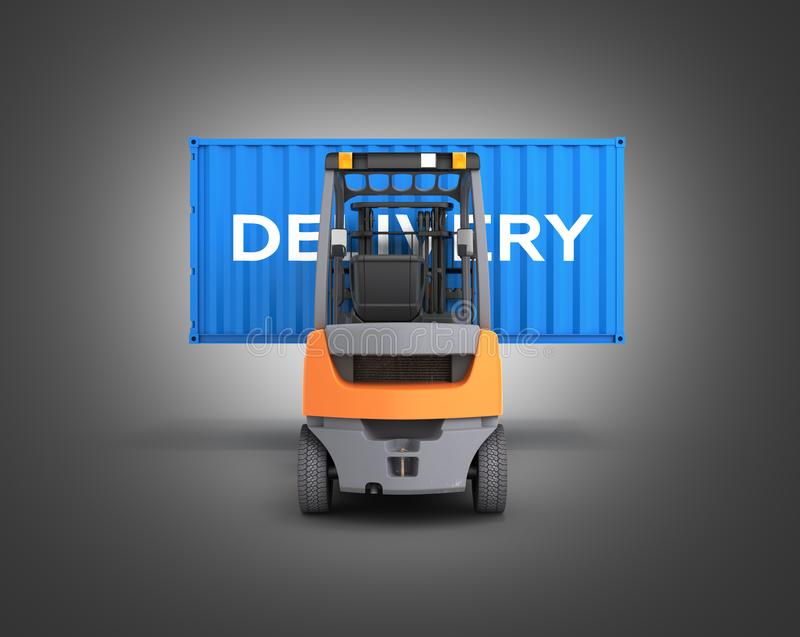 Forklift handling the cargo shipping container with an inscription delivery isolated on black gradient background 3d render. Forklift handling the cargo shipping stock illustration