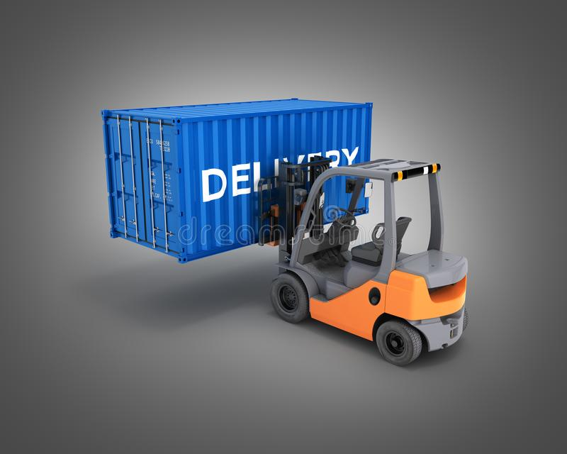 Forklift handling the cargo shipping container with an inscription delivery isolated on black gradient background 3d render stock illustration