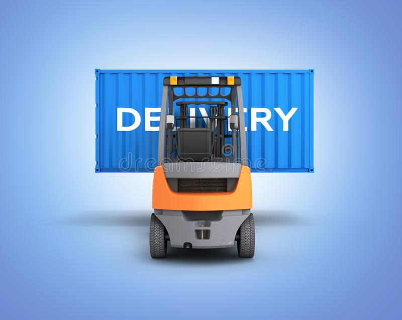 Forklift handling the cargo shipping container with an inscription delivery isolated on blue gradient background 3d render. Forklift handling the cargo shipping vector illustration