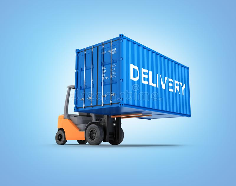 Forklift handling the cargo shipping container with an inscription delivery isolated on blue gradient background 3d render. Forklift handling the cargo shipping stock illustration