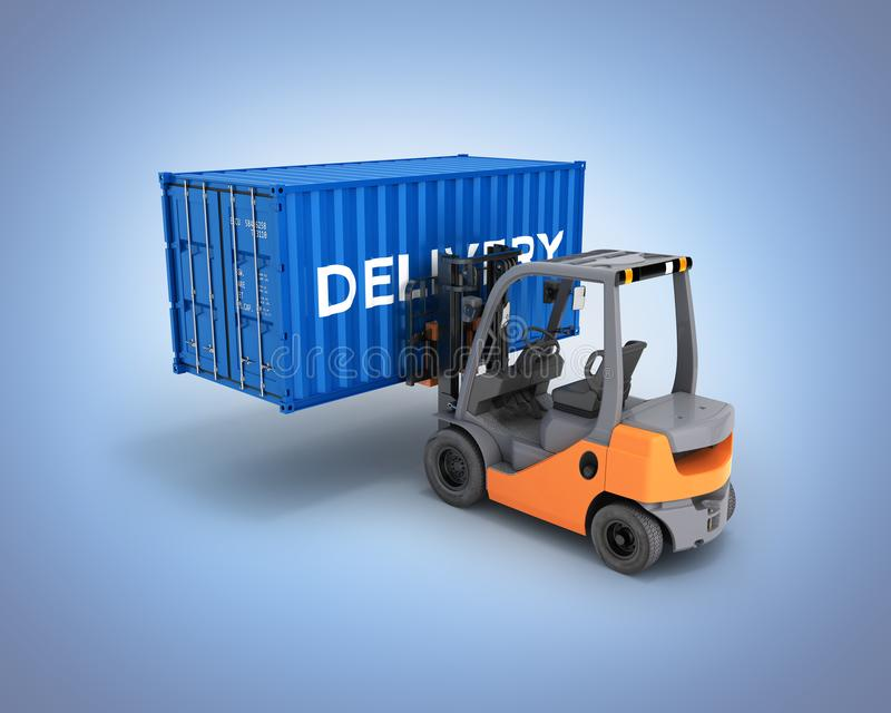 Forklift handling the cargo shipping container with an inscription delivery isolated on blue gradient background 3d render stock illustration