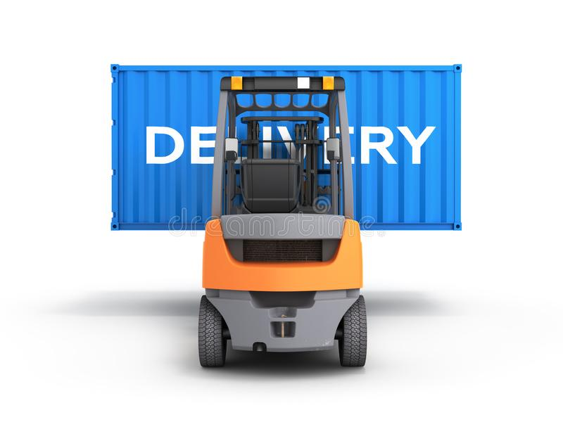 Forklift handling the cargo shipping container with an inscription delivery isolated on white background 3d render. Forklift handling the cargo shipping vector illustration