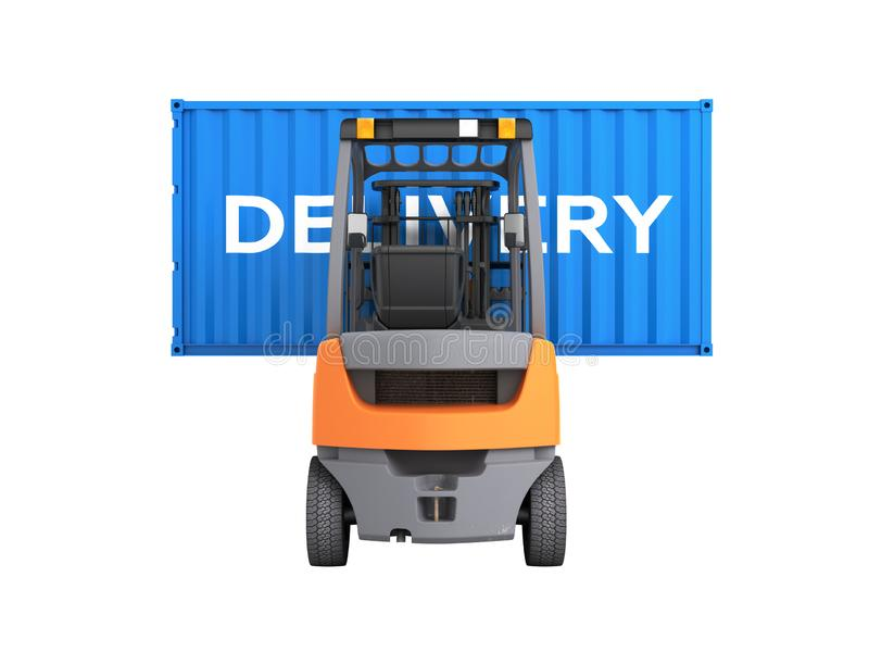 Forklift handling the cargo shipping container with an inscription delivery isolated on white background 3d render without shadow. Forklift handling the cargo stock illustration